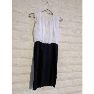 Alice + Olivia | employed black & white silk dress